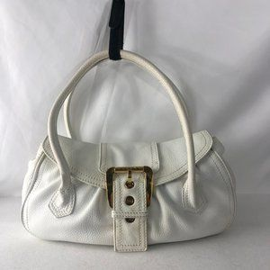 CELINE Leather White Double Handles Shoulder Bag